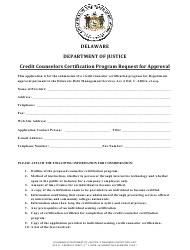 """Credit Counselors Certification Program Request for Approval"" - Delaware"