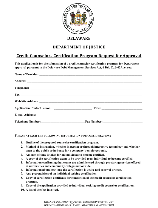 """""""Credit Counselors Certification Program Request for Approval"""" - Delaware Download Pdf"""