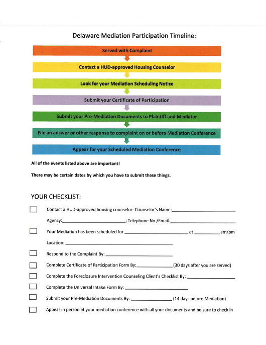 """Mediation Participation Timeline"" - Delaware Download Pdf"