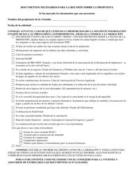 """""""Documentos Necesarios Para La Reunion Sobre La Propuesta"""" - Delaware (Spanish)"""