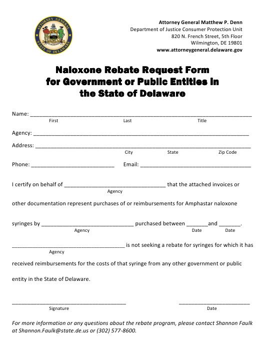 """Naloxone Rebate Request Form for Government or Public Entitles"" - Delaware Download Pdf"