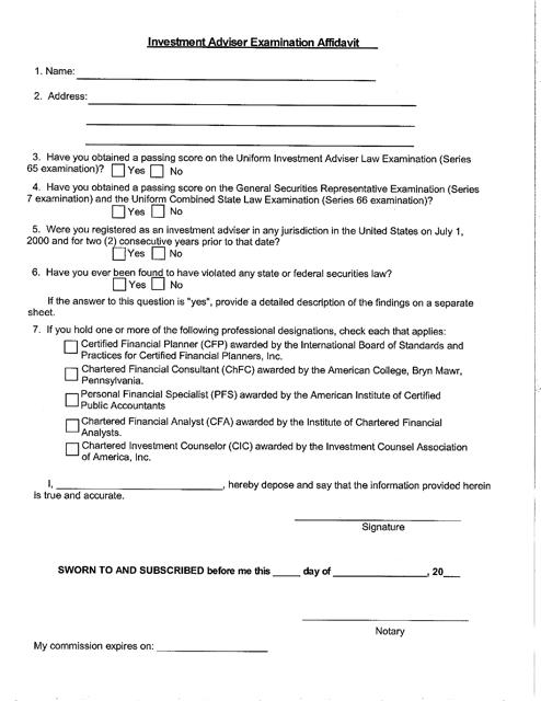"""""""Investment Adviser Examination Affidavit Form"""" - Delaware Download Pdf"""