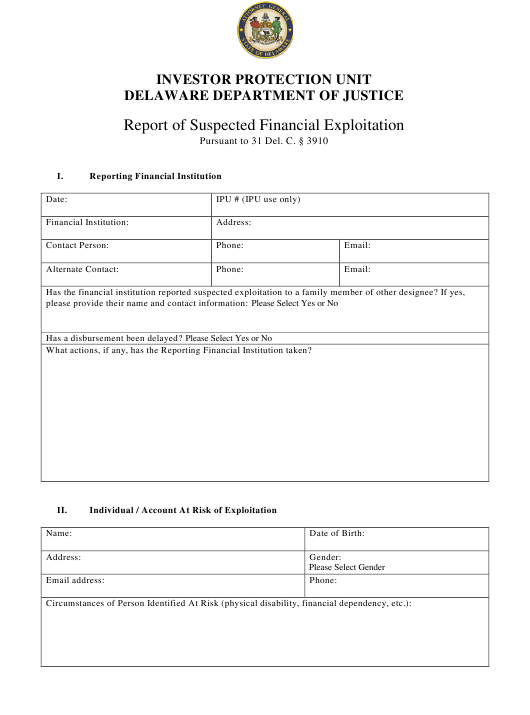 """Report of Suspected Financial Exploitation"" - Delaware Download Pdf"