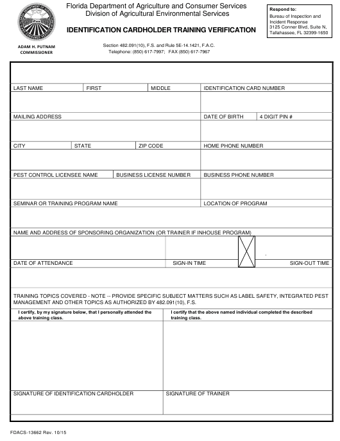 Form FDACS-13662 Printable Pdf