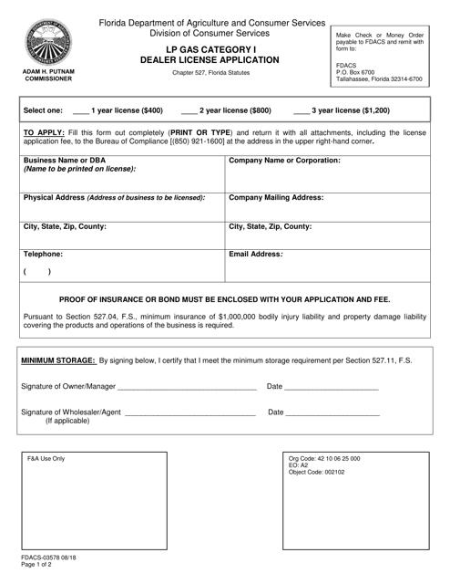 Form FDACS-03578 Printable Pdf