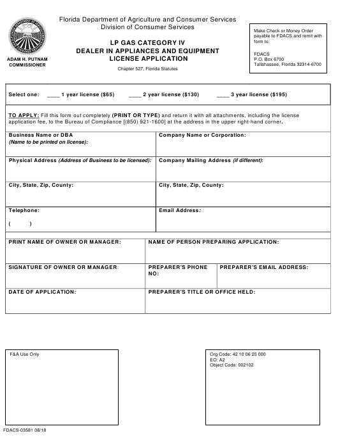 Form FDACS-03581 Printable Pdf