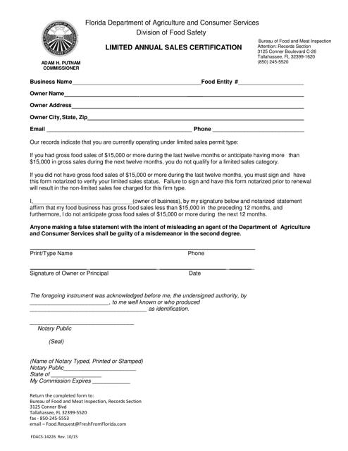 Form FDACS-14226 Printable Pdf