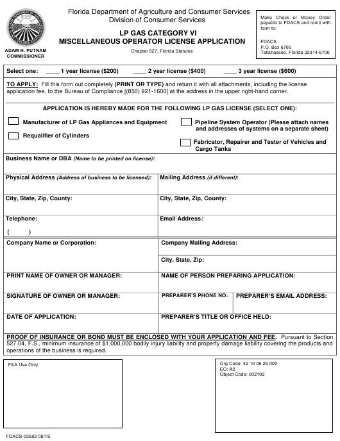 Form FDACS-03583  Printable Pdf