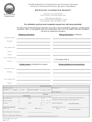 Form FDACS-03224 Metrology Calibration Request - Florida