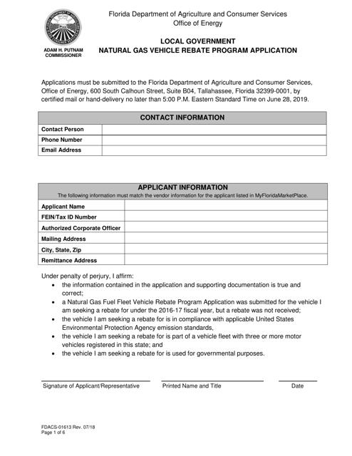 Form FDACS-01613  Printable Pdf