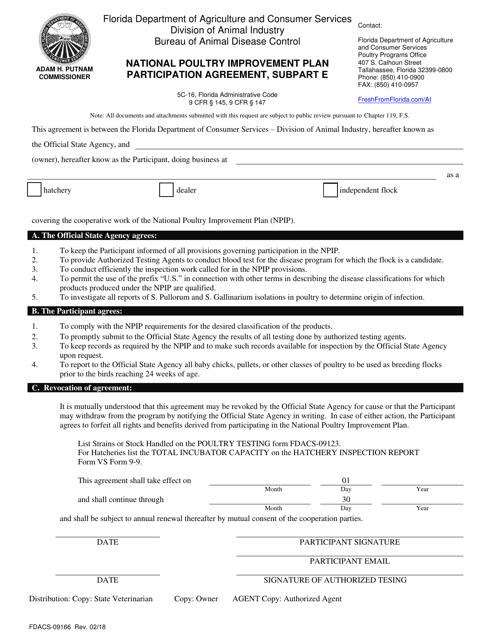 Form FDACS-09166  Printable Pdf