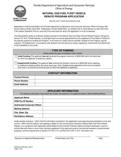 Form FDACS-01976  Printable Pdf