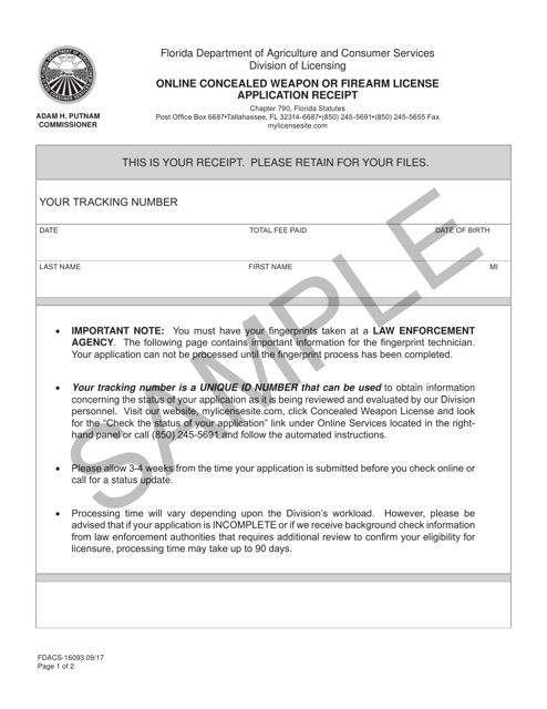 Form FDACS-16093  Printable Pdf
