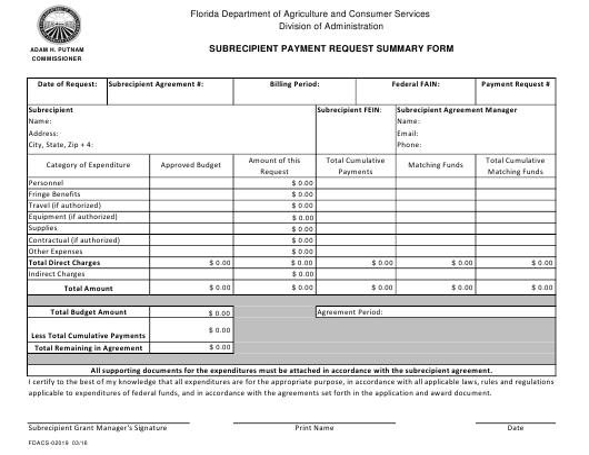 Form FDACS-02019  Printable Pdf