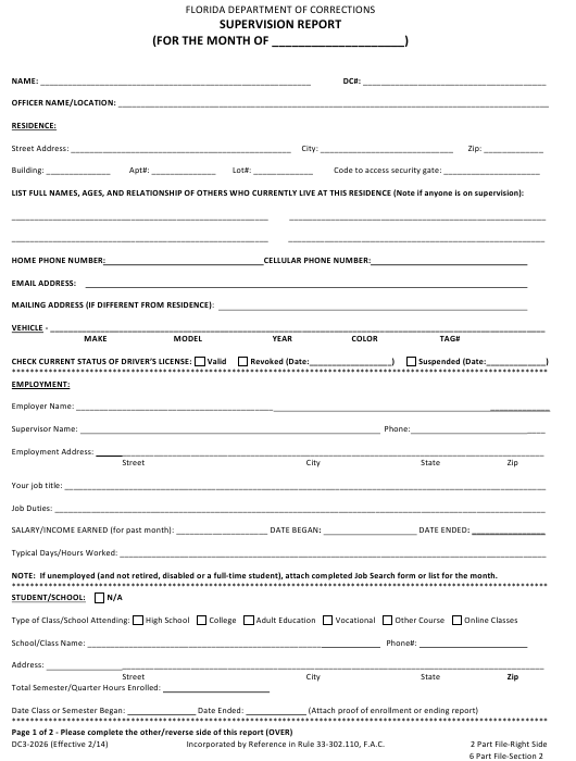 Form DC3-2026 Printable Pdf