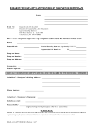 """Form APPR IWD-501 """"Request for Duplicate Apprenticeship Completion Certificate"""" - Florida"""