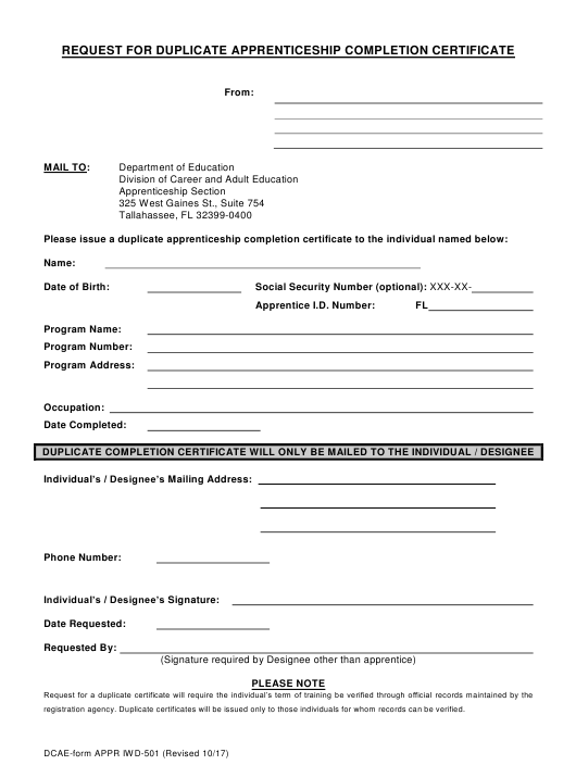 Form APPR IWD-501 Printable Pdf
