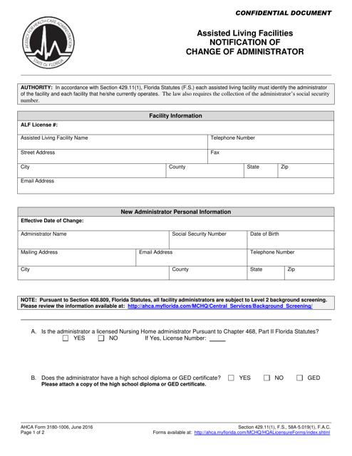 AHCA Form 3180-1006  Printable Pdf