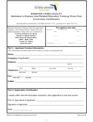 Form ALF/ADRD-002 Alzheimer's Disease and Related Disorders Training Three-Year Curriculum Certification - Florida