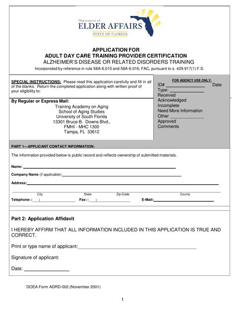 DOEA Form ADC/ADRD-001  Printable Pdf