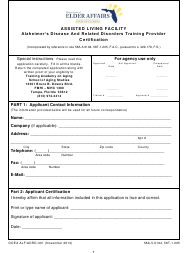 "DOEA Form ALF/ADRD-001 ""Alzheimer's Disease and Related Disorders Training Provider Certification"" - Florida"
