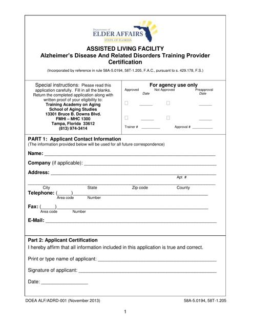 DOEA Form ALF/ADRD-001 Printable Pdf