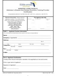 Form ALF/ADRD-001 Alzheimer's Disease and Related Disorders Training Provider Certification - Florida