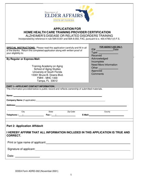 DOEA Form HH/ADRD-001 Printable Pdf