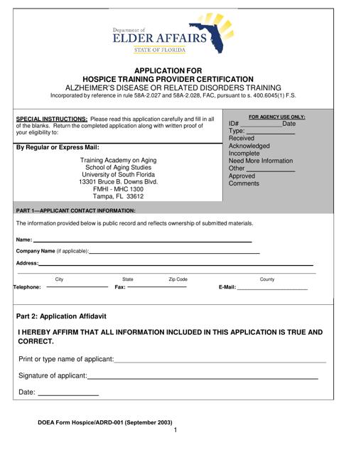 DOEA Form Hospice/ADRD-001  Printable Pdf