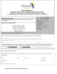 "DOEA Form Hospice/ADRD-002 ""Application for Hospice Three-Year Curriculum Certification - Alzheimer's Disease or Related Disorders Training"" - Florida"