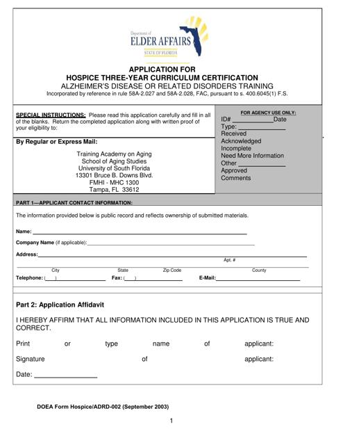DOEA Form Hospice/ADRD-002  Printable Pdf
