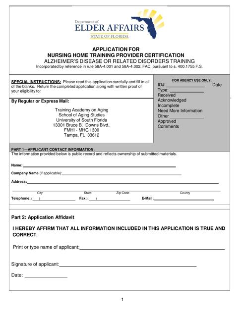 DOEA Form ADRD-001  Printable Pdf