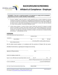 "DOEA Form 235 ""Affidavit of Compliance - Employer"" - Florida"