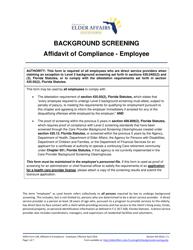 "DOEA Form 236 ""Affidavit of Compliance - Employee"" - Florida"
