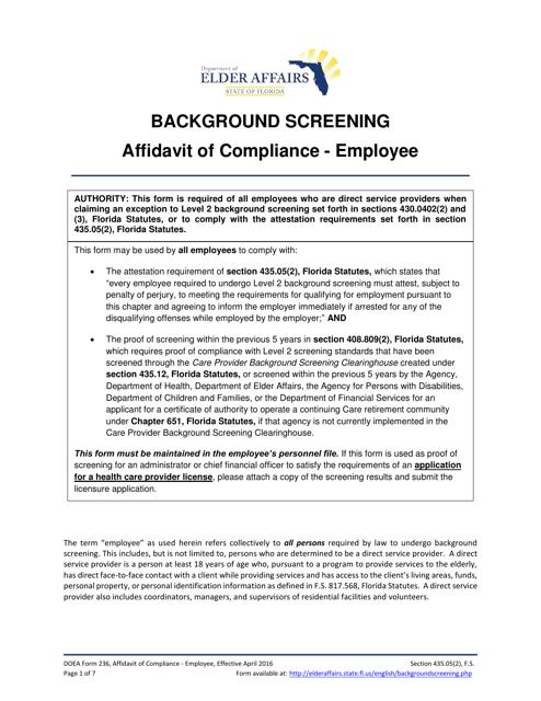 DOEA Form 236  Printable Pdf