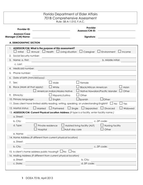DOEA Form 701B  Printable Pdf