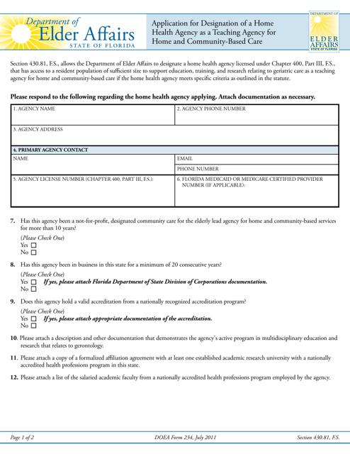 DOEA Form 234  Printable Pdf