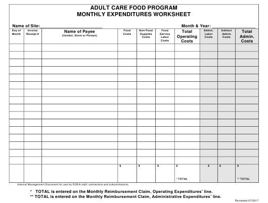 """Monthly Expenditures Worksheet - Adult Care Food Program"" - Florida Download Pdf"