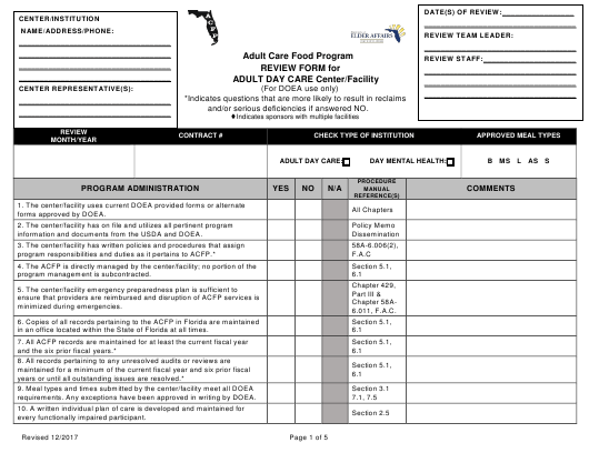 """Review Form for Adult Day Care Center/Facility - Adult Care Food Program"" - Florida Download Pdf"