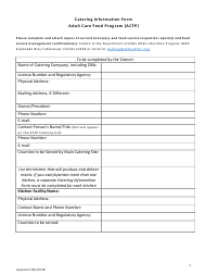 """Catering Information Form - Adult Care Food Program (Acfp)"" - Florida"