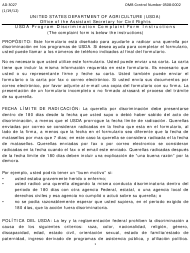 "Formulario AD-3027 ""Program Discrimination Complaint Form"" (Spanish)"