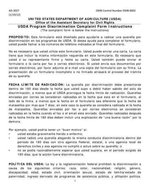 Formulario AD-3027  Printable Pdf