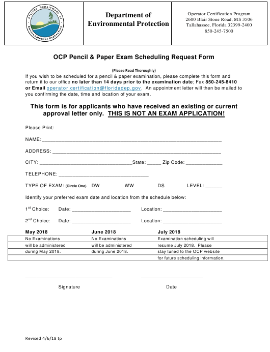 """Ocp Pencil & Paper Exam Scheduling Request Form"" - Florida Download Pdf"