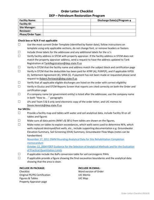 """""""Order Letter Checklist - Petroleum Restoration Program"""" - Florida Download Pdf"""