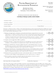 "DEP Form 071217 ""Contractor Qualification Form - Petroleum Restoration Program"" - Florida"