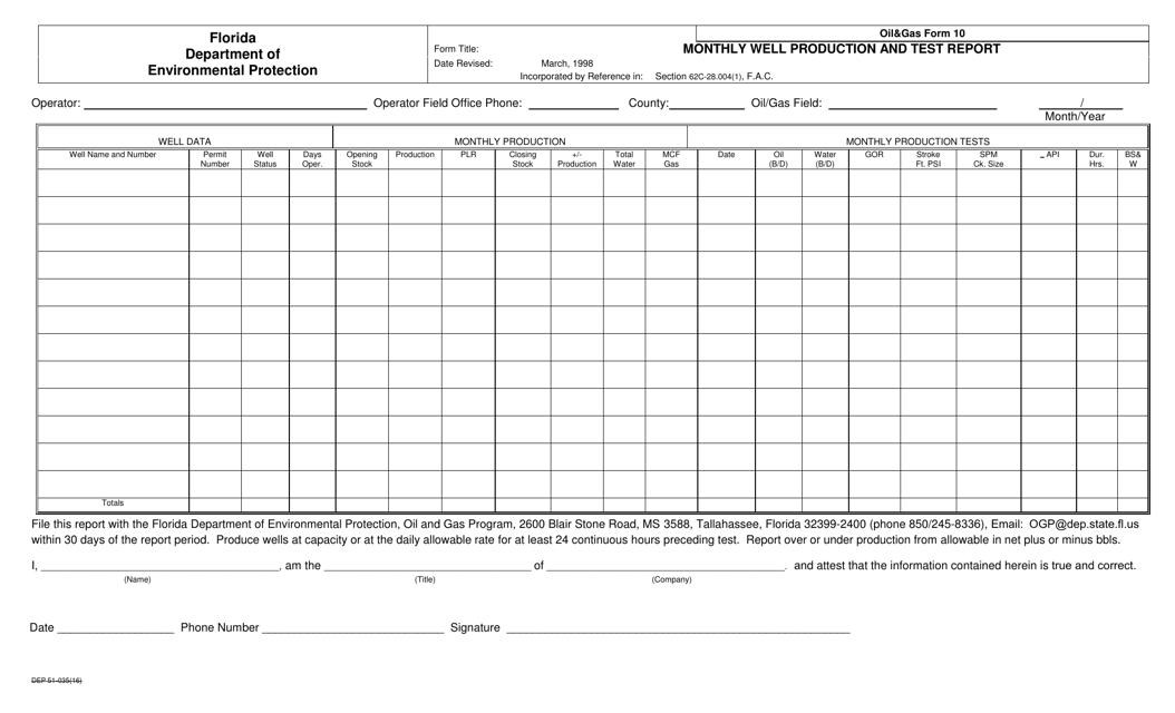 DEP Oil&Gas Form 10  Printable Pdf
