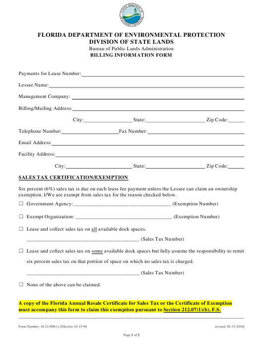 DEP Form 18-21.900(1) Printable Pdf