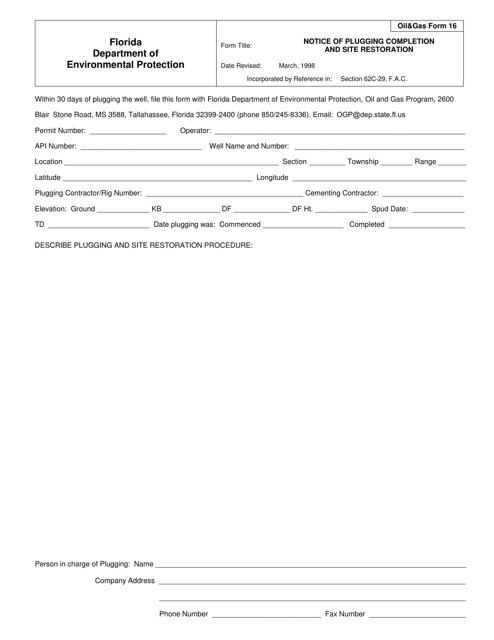 DEP Oil&Gas Form 16  Printable Pdf