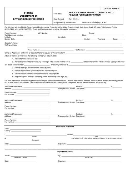 DEP Oil&Gas Form 14  Printable Pdf