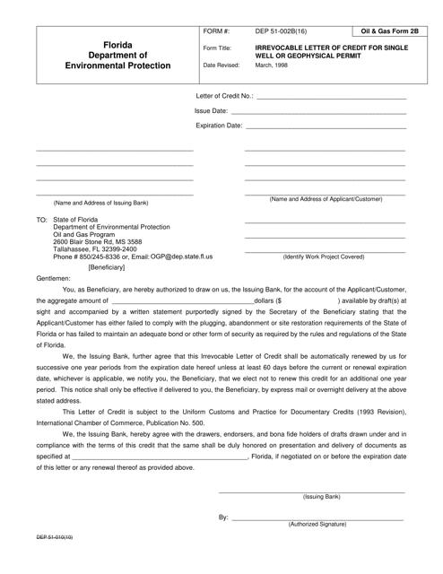 DEP Oil&Gas Form 2B  Printable Pdf